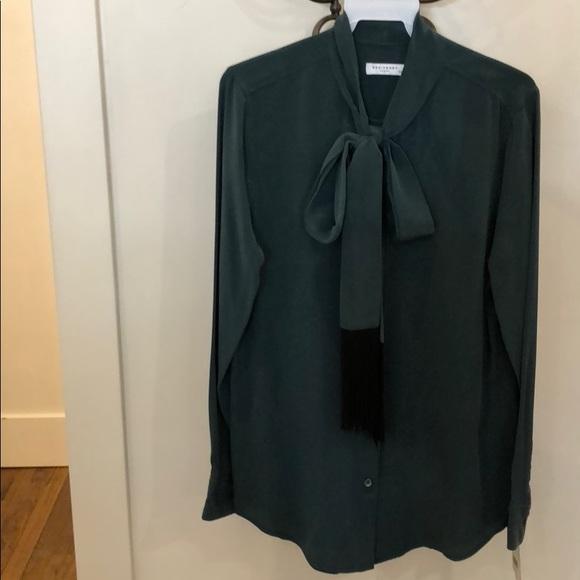 6b5fc734f6fd3b Equipment Essential Tie Neck Blouse in Emerald